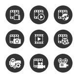 Bloco do ícone dos meios no fundo preto Vetor Fotografia de Stock