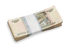 Bloco do dinheiro amarrotado do russo Foto de Stock