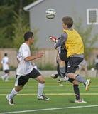 Bloco do goalie do futebol Fotografia de Stock Royalty Free