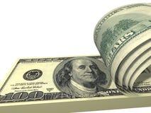 Bloco dos dólares com as contas parafusadas isoladas Fotografia de Stock