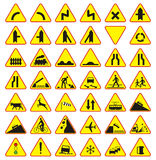 Bloco dos sinais de estrada (sinais de aviso) Imagem de Stock