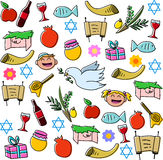 Bloco dos símbolos dos feriados de Rosh Hashanah Fotografia de Stock Royalty Free