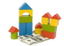 Bloco e dinheiro do brinquedo Foto de Stock Royalty Free