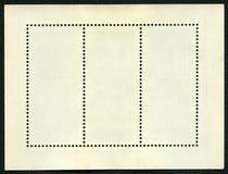 Bloco em branco dos selos de porte postal de três quadro Fotografia de Stock Royalty Free
