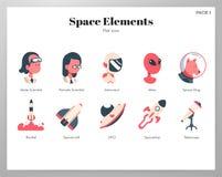 Bloco liso dos elementos do espaço ilustração stock