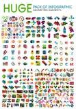 Bloco mega enorme de disposições infographic do menu da opção, fundos geométricos ilustração stock