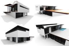 BLOCO moderno da casa 3d isolado no branco