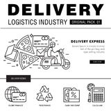 Bloco moderno da indústria da entrega A linha fina ícones ajustou o netw logístico Fotografia de Stock
