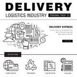 Bloco moderno da indústria da entrega A linha fina ícones ajustou o netw logístico Imagens de Stock Royalty Free
