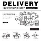 Bloco moderno da indústria da entrega A linha fina ícones ajustou o netw logístico Imagens de Stock