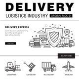 Bloco moderno da indústria da entrega A linha fina ícones ajustou o netw logístico Fotos de Stock