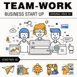 Bloco moderno do trabalho da equipe Linha fina trabalhos do negócio dos ícones Fotos de Stock Royalty Free