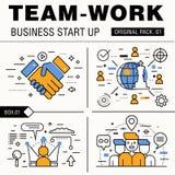 Bloco moderno do trabalho da equipe Linha fina trabalhos do negócio dos ícones Foto de Stock Royalty Free