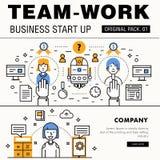 Bloco moderno do trabalho da equipe Linha fina trabalhos do negócio dos ícones Imagem de Stock