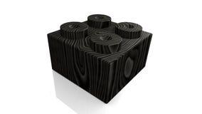 Bloco preto de madeira do lego (3D) Fotografia de Stock Royalty Free