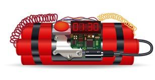 Bloco vermelho da dinamite com bomba-relógio elétrica Foto de Stock