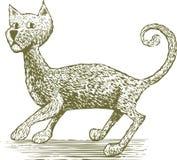 Bloco xilográfico Cat Drawing Fotos de Stock Royalty Free