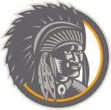 Bloco xilográfico da cabeça do chefe indiano do nativo americano Foto de Stock