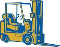 Bloco xilográfico do lado do caminhão de empilhadeira ilustração royalty free