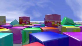 Blocos coloridos do cubo empilhados acima rendição 3d Imagens de Stock Royalty Free