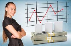 Blocos da mulher de negócios e do dólar com cartão Foto de Stock