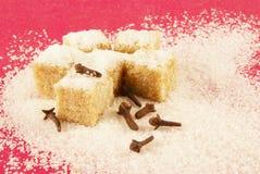 Blocos de açúcar e de spiciness em um fundo vermelho Imagem de Stock