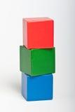 Blocos de apartamentos de madeira do brinquedo Foto de Stock Royalty Free