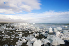 Blocos de gelo em uma praia preta da areia Fotos de Stock Royalty Free