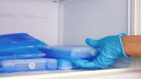 Blocos de gelo no congelador vídeos de arquivo