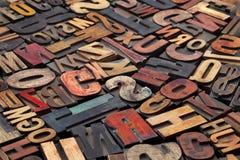 Blocos de impressão antigos da tipografia Foto de Stock
