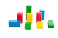 Blocos de madeira coloridos do jogo Fotografia de Stock Royalty Free