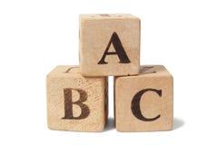 Blocos de madeira com letras de ABC Imagem de Stock