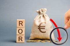Blocos de madeira com a palavra ROR, o saco do dinheiro e para baixo a seta Rela??o financeira que ilustra o n?vel de perda de ne fotos de stock