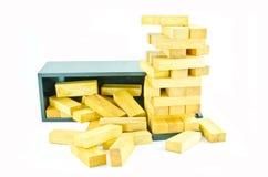 Blocos de madeira do brinquedo isolados no fundo branco Imagens de Stock Royalty Free
