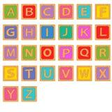 Blocos de madeira do inglês do alfabeto Imagem de Stock Royalty Free