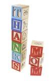 Blocos do alfabeto - mamã dos agradecimentos Imagens de Stock Royalty Free