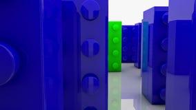 Blocos do brinquedo no azul e no verde ilustração do vetor