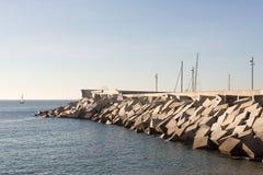 Blocos do cimento do quebra-mar Imagens de Stock Royalty Free