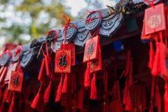 Blocos do vermelho que penduram no telhado Fotos de Stock Royalty Free