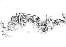 Blocos do vetor com balcões, telhados e janelas atrás das árvores ilustração do vetor