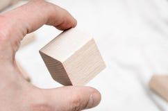 Blocos educacionais feitos da madeira natural Fotos de Stock Royalty Free