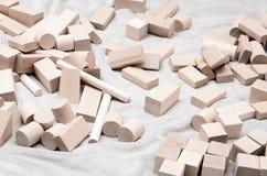 Blocos educacionais feitos da madeira natural Fotografia de Stock