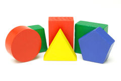 Blocos geométricos de madeira Foto de Stock Royalty Free