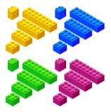 Blocos plásticos isométricos do brinquedo isolados no fundo branco A construção plástica obstrui a ilustração do vetor ilustração stock