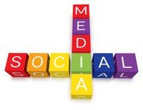 Blocos sociais do enigma de palavras cruzadas dos media Fotografia de Stock