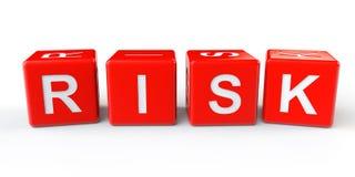 Blocos vermelhos dos cubos com sinal do risco ilustração do vetor