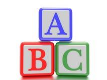 Blocs avec A, B et C écrits là-dessus Image stock