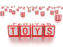 Blocs avec les jouets de mot écrits là-dessus Photos libres de droits