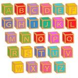 Blocs colorés anglais d'alphabet Photographie stock libre de droits