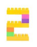 blocs colorés de plastique formant le numéro deux Images stock